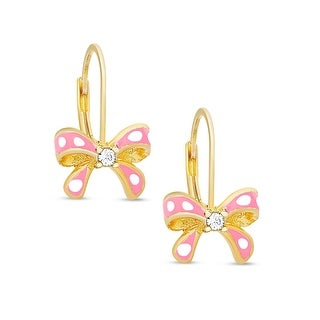 Lily Nily Girl's Bow Leverback Earrings with CZ - Pink