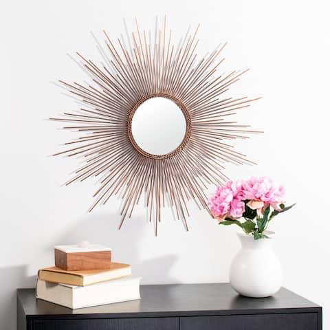 """SAFAVIEH Genevieve 30-inch Copper Sunburst Round Mirror - 30"""" W x 1"""" L x 30"""" H"""