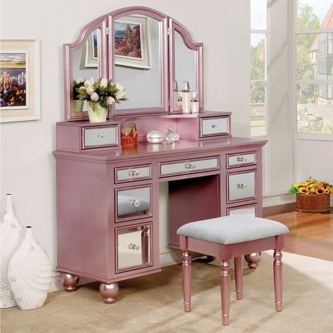 Furniture of America Nena Contemporary Solid Wood 3-piece Vanity Set