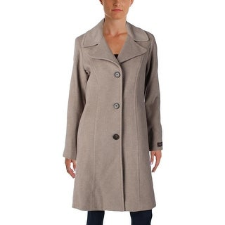 Anne Klein Womens Pea Coat Wool Blend Single Vent