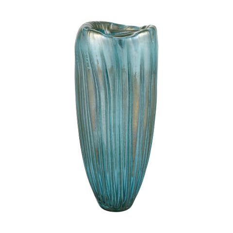 """Elk Home 4154-080 Sinkhole 16-1/8""""H x 6-11/16""""W Colored Glass Vase - Green"""