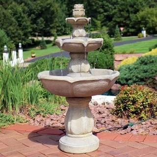 Sunnydaze Birds' Delight Outdoor Garden Water Fountain Bird Bath - 35-Inch
