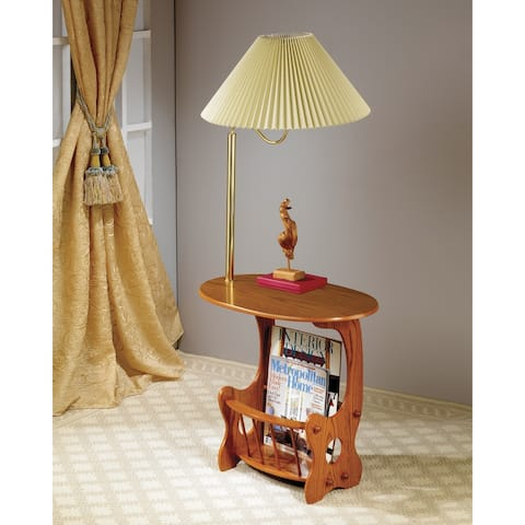 Hanna Warm Brown Accent Table with Magazine Rack and Lamp