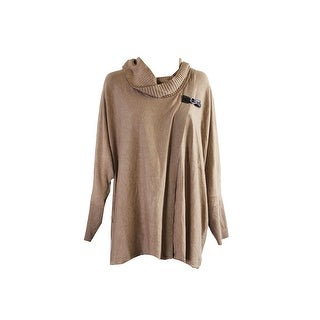 Jm Collection Plus Size Tan Heather Cowl-Neck Poncho Sweater 3X