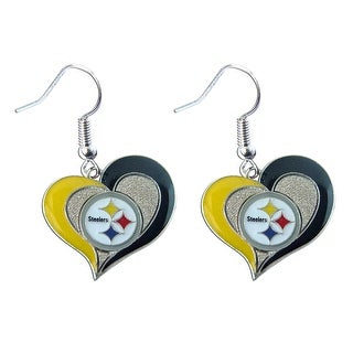"NFL Pittsburgh Steelers 3/4"" Swirl Heart Shape Dangle Sports Team Logo Earring Set Charm Gift"