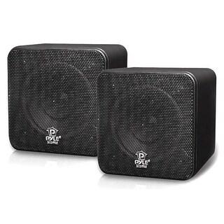 Pyle Audio T51291B Pyle Home PCB4BK 4- Inch 200-Watt Mini Cube Bookshelf Speaker-Black-Pair