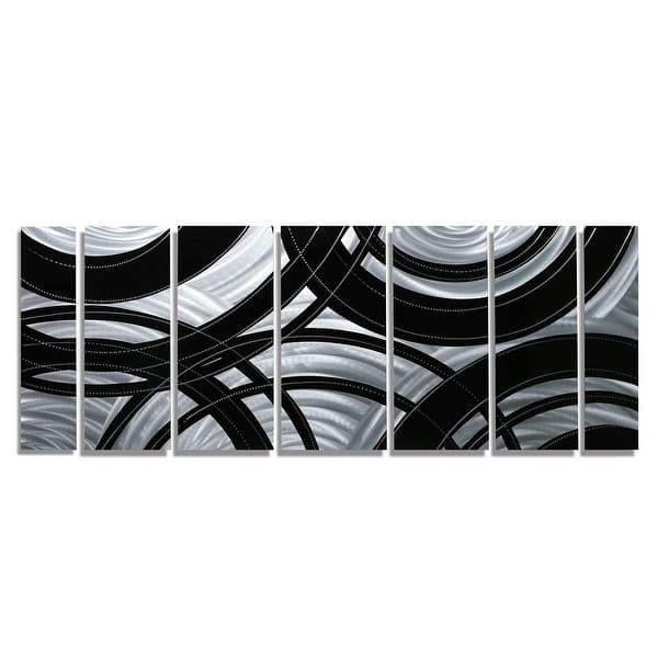 Statements2000 Abstract Modern Metal Wall Art Panels Silver Black Decor By Jon Allen Crossroads Overstock 12447212