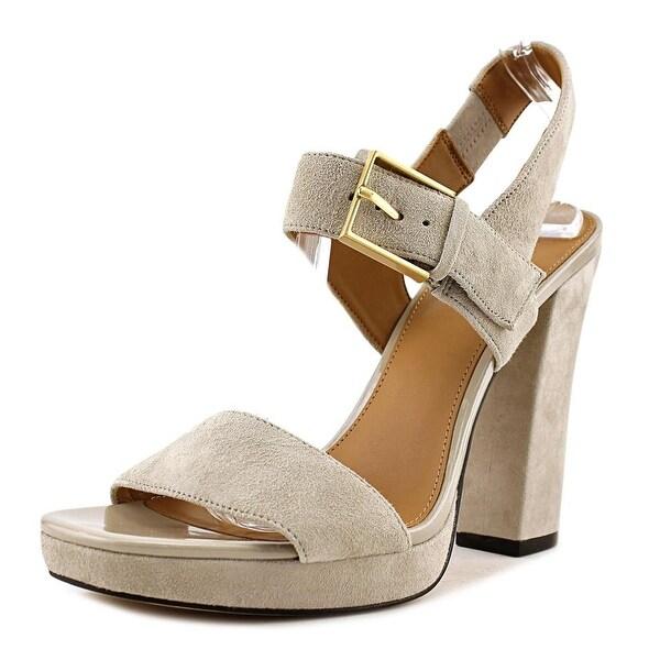 Calvin Klein Bette Women Open-Toe Suede Gray Heels