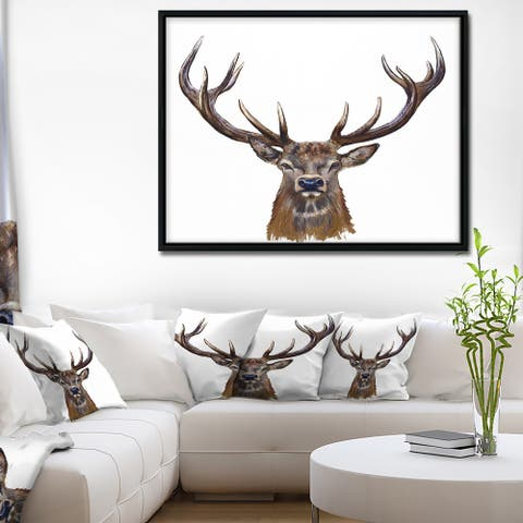 Designart 'Deer Head in Front Illustration' Animal Art On Framed Canvas