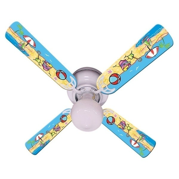 Fun at the Beach Print Blades 42in Ceiling Fan Light Kit - Multi