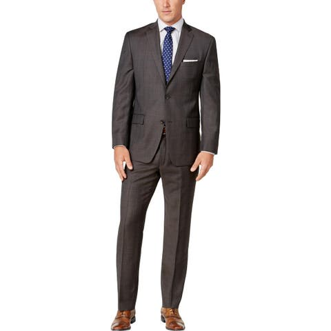 bf30f937050 Michael Kors Mens Two-Button Suit Wool Classic Fit