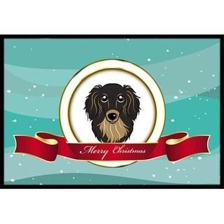 Carolines Treasures BB1523MAT Longhair Black And Tan Dachshund Merry Christmas Indoor & Outdoor Mat 18 x 27 in.