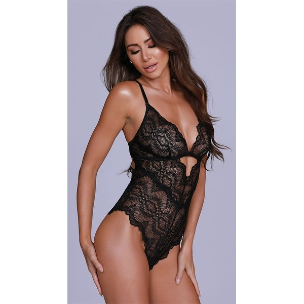 8fde1edb16d Shop Lay Me Down Lace Teddy - Black - Free Shipping On Orders Over $45 -  Overstock - 27754999