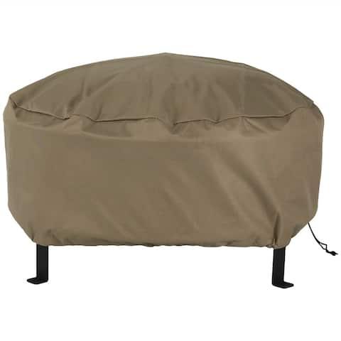 Sunnydaze Durable Round Fire Pit Cover- Long-Lasting PVC - Khaki - 60-Inch - 58-Inch