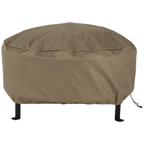 Sunnydaze Durable Weather-Resistant Round Fire Pit Cover - Khaki - 80-Inch