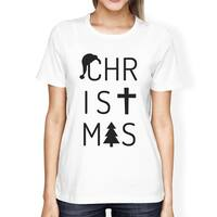 Christmas Letters Womens White Graphic T-Shirt Short Sleeve Cotton