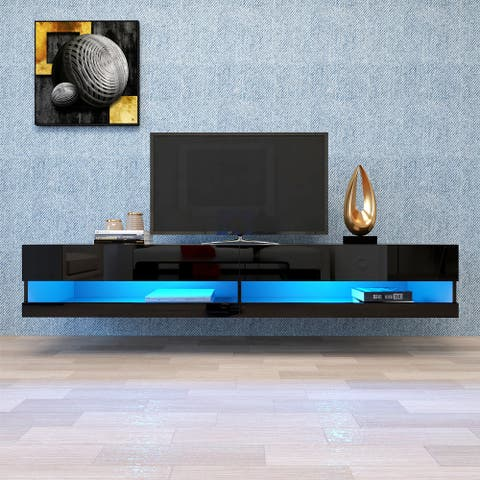 """Merax 180 Wall Mounted Floating 80"""" TV Stand with 20 Color LEDs"""