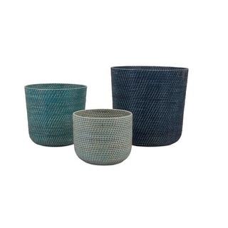 "Set of 3 Variegated Blue Triplicity Rattan Woven Storage Baskets 18"""