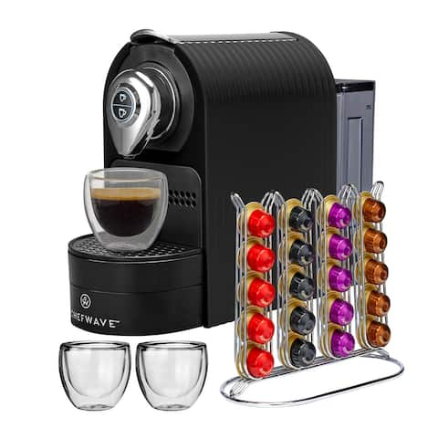 "ChefWave Espresso Machine for Nespresso Compatible Capsule Bundle - 5.9"" x 12.8"" x 9.8"""