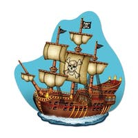 "Pack of 12 Pirate Ship Birthday Party Double Sided Wall Plaque Decorations 15"" - Blue"