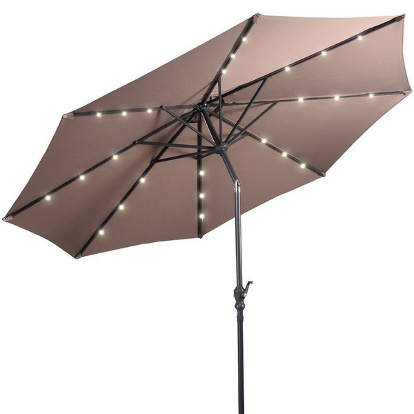 Led Patio Umbrella Reviews: Shop Costway 10ft Patio Solar Umbrella LED Patio Market