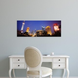 Easy Art Prints Panoramic Images's 'Buildings lit up at night, Pudong, Shanghai, China' Premium Canvas Art