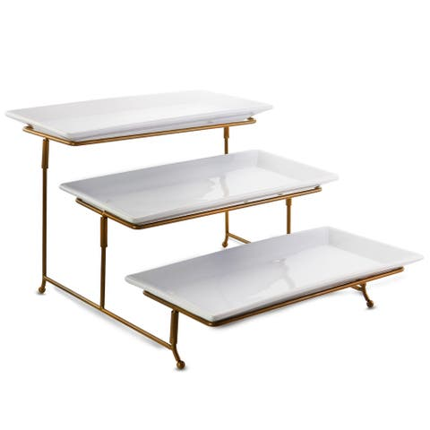 Gibson Elite Gracious Dining 3 Tiered Rectangle Porcelain Plate Set with Gold Metal Stand