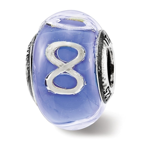 Italian Sterling Silver Reflections Foil Infinity Blue Glass Bead (4.5mm Diameter Hole)