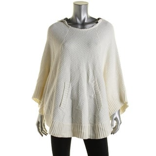 G.H. Bass & Co. Womens Knit Hooded Poncho Sweater