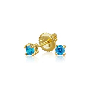 Bling Jewelry Gold Plated Silver Blue CZ Screwback Studs