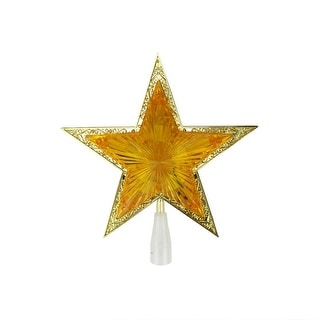 "10"" Lighted Orange and Gold Crystal Star Christmas Tree Topper - Clear Lights"
