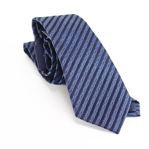 Sean John Men's Navy Blue Marble Textured Striped Metallic Neck Tie Silk