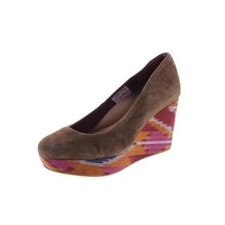 Reef Womens High Tropic Suede Round Toe Wedge Heels