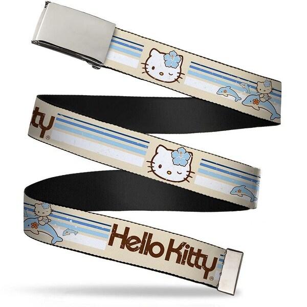 Blank Chrome Bo Buckle Hello Kitty Classic Vintage Surf W Dolphins Web Belt