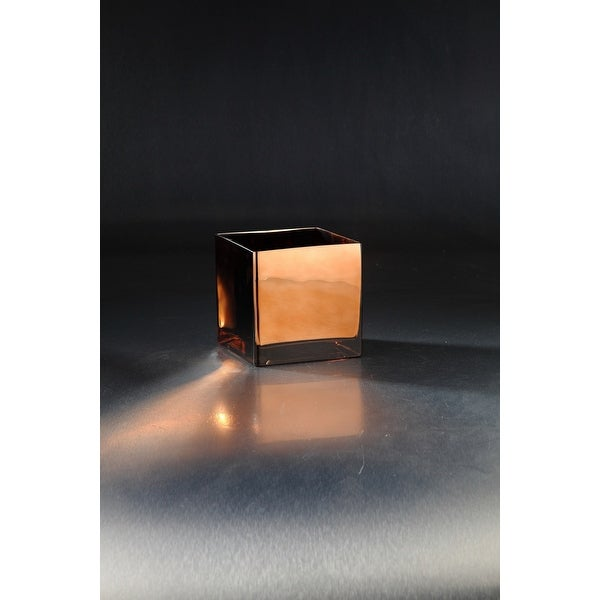 """6"""" Glossy Chocolate Brown Square Tabletop Glass Vase - N/A"""
