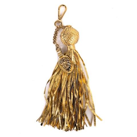 Roberto Cavalli Gold Pendant Snakeskin Ball Chain Tassel Keychain