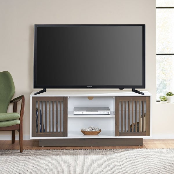 """Leverick Mid-Century Modern 2 Door TV Stand with Storage by Christopher Knight Home - 56.00"""" W x 16.00"""" D x 24.25"""" H. Opens flyout."""
