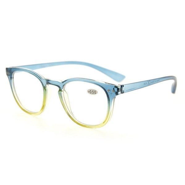 Eyekepper Fashion Readers Womens Reading Glasses (Blue-Yellow Frame, +0.75)