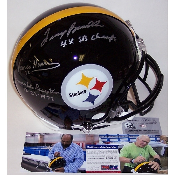 3f8ff85cf Shop Terry Bradshaw   Franco Harris Autographed Hand Signed Pittsburgh  Steelers Full Size Authentic Helmet - PSA DNA - Free Shipping Today -  Overstock - ...