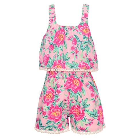 a348974c1b5 Real Love Little Girls Pink Floral Print Overlay Split Back Casual Romper