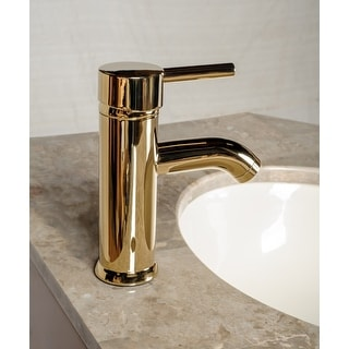 Bathroom Faucet Gold PVD Brass Round Single Hole 1 Handle | Renovator's Supply