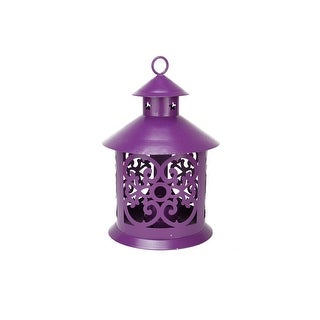 """8"""" Shiny Purple Votive or Tealight Candle Holder Lantern with Star and Scroll Cutouts"""