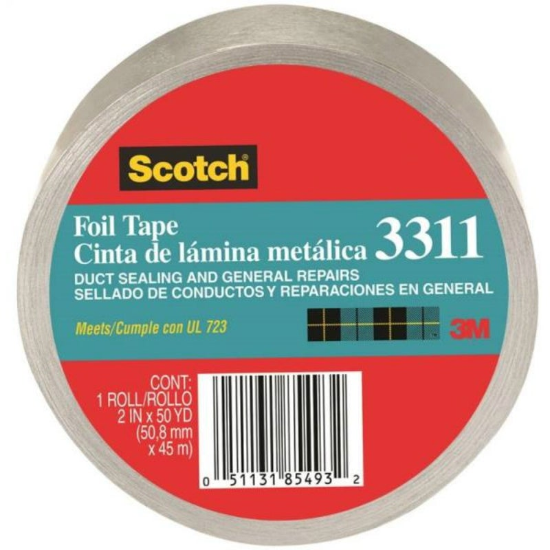 Scotch 3311-10A Aluminum Foil Tape, Silver, 3 6 Mil Thickness, 2