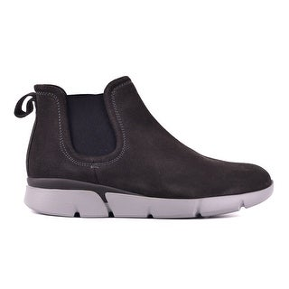 Santoni Mens Suede Grey Stitched Chukka Ankle Boots