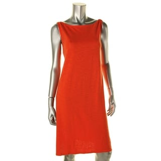 Eileen Fisher Womens Petites Parus Slub Drapey Casual Dress