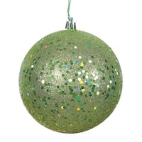 6 in. Celadon Sequin Drilled Christmas Ornament Ball - 4 per Bag