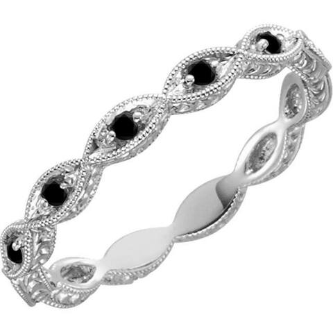 Auriya 10k Gold Vintage Inspired 1/8ctw Black Diamond Wedding Band