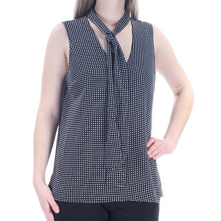 Womens Black Gray Geometric Sleeveless V Neck Top Size 10