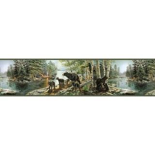 Brewster TLL01531B Salvador Green Bear Necessities Border Wallpaper