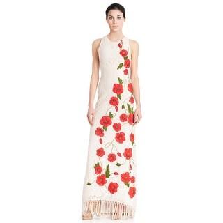 Alice & Olivia Bonny Floral Embroidered Fringe Sleeveless Evening Gown Dress - 4